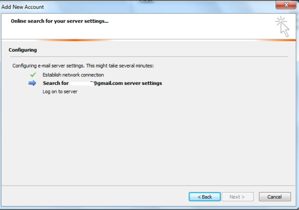 outlook 2010 online search for server settings