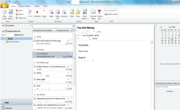 outlook 2010- inbox