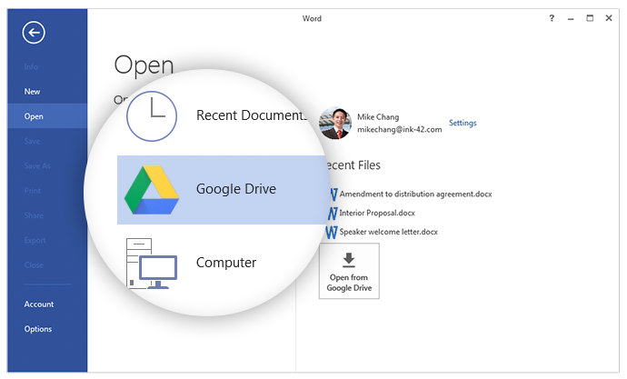 Comprompt-Google Drive plug-in for Microsoft Office