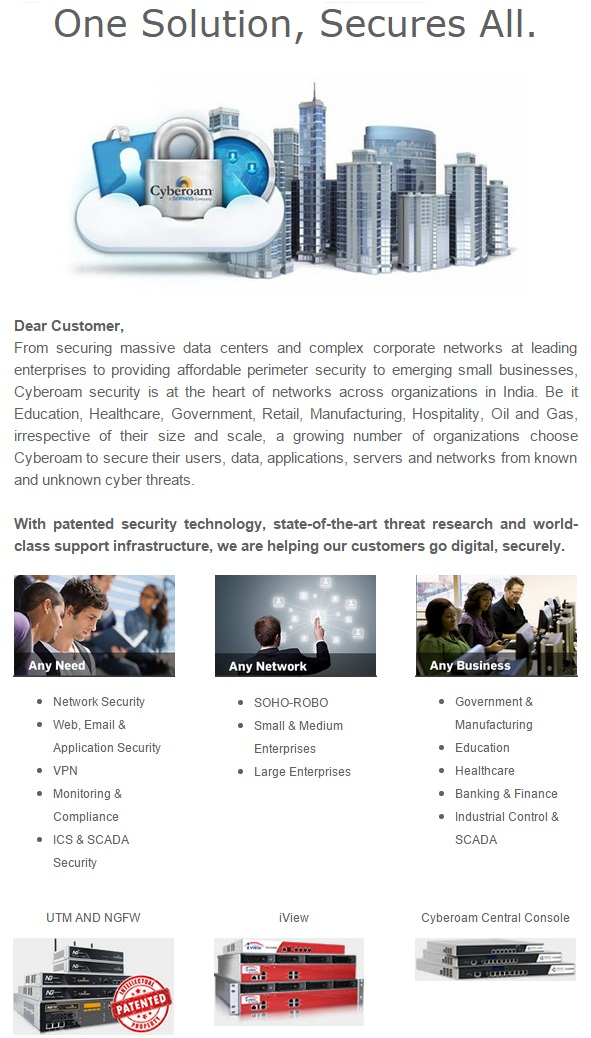 Cyberoam Future-ready Security - One Solution, Secures All.