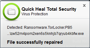 Quick heal Total Security Detected Ransomeware