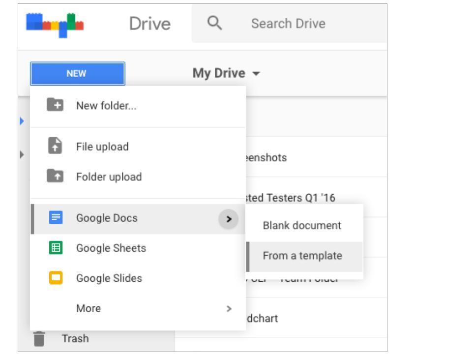 Google Drive Templates Submenu