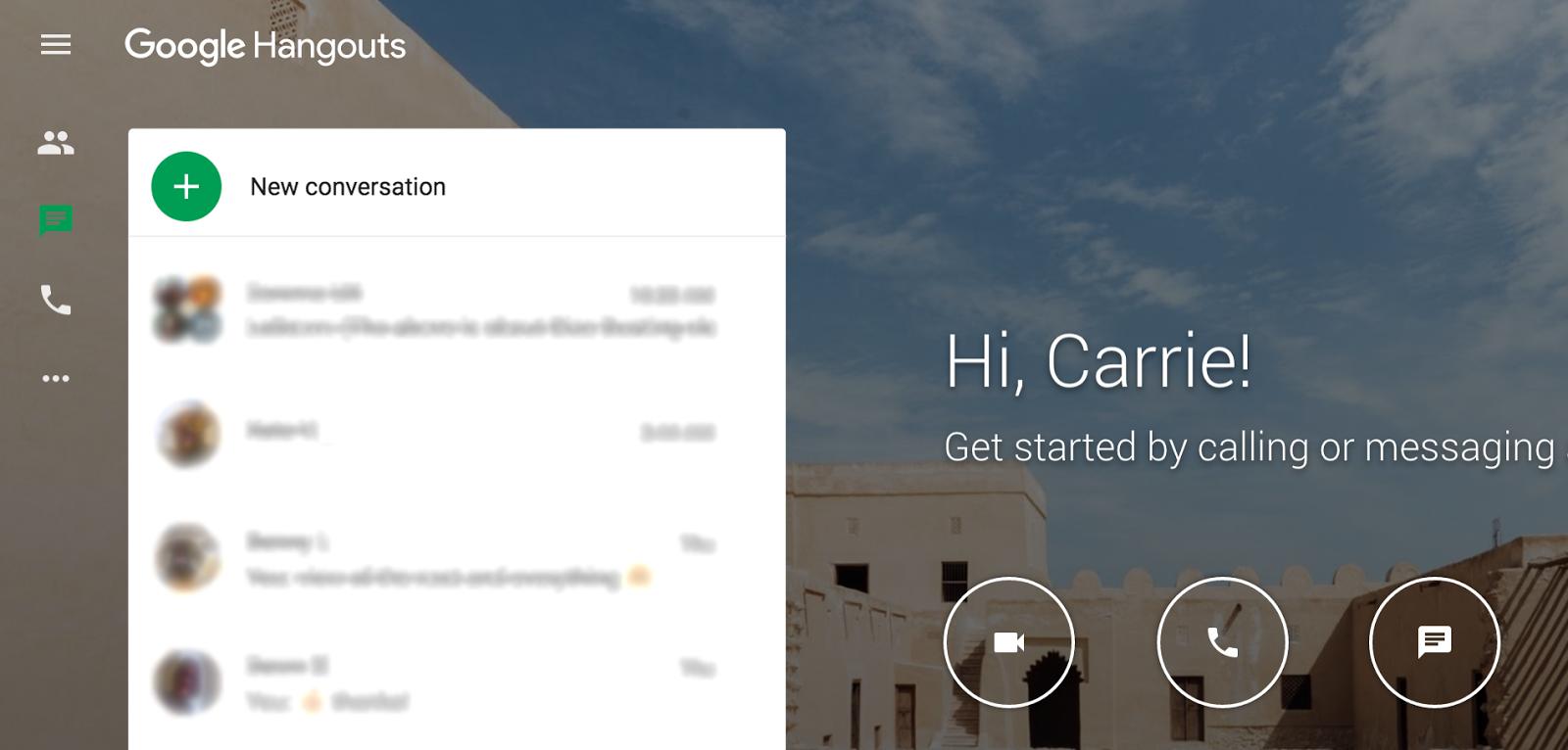 Google Hangouts New Conversation button 3